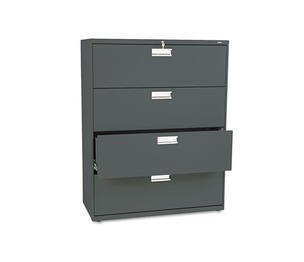 HON COMPANY 694LS 600 Series Four-Drawer Lateral File, 42w x 19-1/4d, Charcoal by HON COMPANY