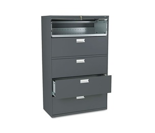 HON COMPANY 695LS 600 Series Five-Drawer Lateral File, 42w x 19-1/4d, Charcoal by HON COMPANY