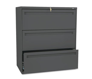 HON COMPANY 783LS 700 Series Three-Drawer Lateral File, 36w x 19-1/4d, Charcoal by HON COMPANY