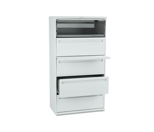 HON COMPANY 785LQ 700 Series Five-Drawer Lateral File w/Roll-Out & Posting Shelf, 36w, Light Gray by HON COMPANY