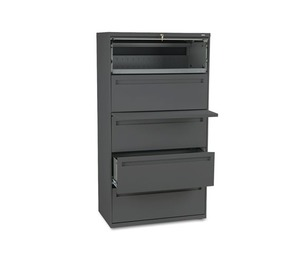 HON COMPANY 785LS 700 Series Five-Drawer Lateral File w/Roll-Out & Posting Shelf, 36w, Charcoal by HON COMPANY