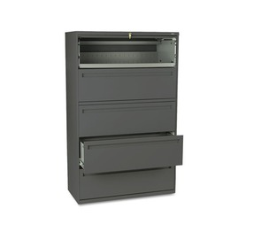 HON COMPANY 795LS 700 Series Five-Drawer Lateral File w/Roll-Out & Posting Shelves, 42w, Charcoal by HON COMPANY