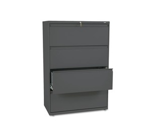 HON COMPANY 884LS 800 Series Four-Drawer Lateral File, 36w x 19-1/4d x 53-1/4h, Charcoal by HON COMPANY