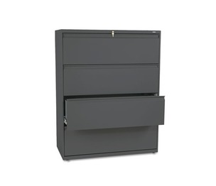 HON COMPANY 894LS 800 Series Four-Drawer Lateral File, 42w x 19-1/4d x 53-1/4h, Charcoal by HON COMPANY