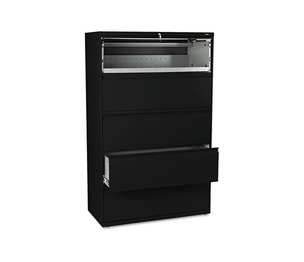 HON COMPANY 895LP 800 Series Five-Drawer Lateral File, Roll-Out/Posting Shelves, 42w x 67h, Black by HON COMPANY