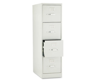 "HON COMPANY H324Q H320 Series Four-Drawer, Full-Suspension File, Letter, 26-1/2"" Deep, Light Gray by HON COMPANY"