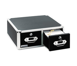 IdeaStream Consumer Products, LLC VZ01395 Vaultz Locking 6 x 4 Two-Drawer Index Card Box, 3000-Card Capacity, Black by IDEASTREAM CONSUMER PRODUCTS