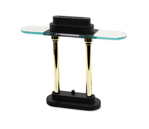 "Halogen Desk Lamp, Glass Shade, 15"" High, Black Base by LEDU CORP."