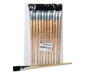 Charles Leonard, Inc 73599 Long Handle Easel Brush, Size 22, Natural Bristle, Flat, 12/Pack by CHARLES LEONARD, INC