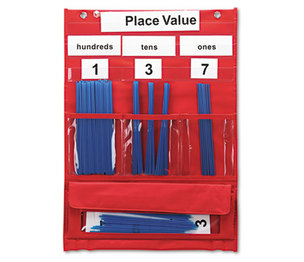 LEARNING RESOURCES/ED.INSIGHTS LER2416 Counting and Place Value Pocket Chart with Cards, Straws, 13 x 17 3/4 by LEARNING RESOURCES