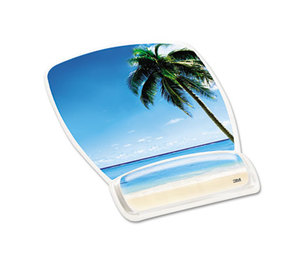 3M MW308BH Fun Design Clear Gel Mouse Pad Wrist Rest, 6 4/5 x 8 3/5 x 3/4, Beach Design by 3M/COMMERCIAL TAPE DIV.