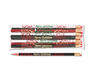 Moon Products 7921B Decorated Wd Pencil, Merry Christmas, #2, BLK/GN/RD/WE Brl, Dozen by MOON PRODUCTS