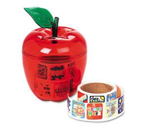 PACON CORPORATION 51480 Stickers in Plastic Apple, Reward, 600 Stickers/Pack by PACON CORPORATION