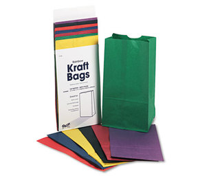 PACON CORPORATION 72140 Rainbow Bags, 6# Uncoated Kraft Paper, 6 x 3 5/8 x 11, Assorted Bright, 28/Pack by PACON CORPORATION