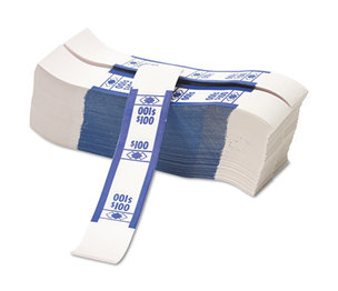 PM Company, LLC 55027 Color-Coded Kraft Currency Straps, Dollar Bill, $100, Self-Adhesive, 1000/Pack by PM COMPANY