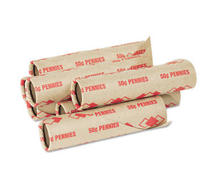 PM Company, LLC 65029 Preformed Tubular Coin Wrappers, Pennies, $.50, 1000 Wrappers/Carton by PM COMPANY