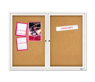 Quartet 2364 Enclosed Bulletin Board, Natural Cork/Fiberboard, 48 x 36, Silver Aluminum Frame by ACCO BRANDS, INC.
