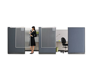 Quartet WPS1000 Workstation Privacy Screen, 36w x 48d, Translucent Clear/Silver by GBC-COMMERCIAL & CONSUMER GRP