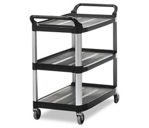 RUBBERMAID COMMERCIAL PROD. 409100BLA Open Sided Utility Cart, Three-Shelf, 40-5/8w x 20d x 37-13/16h, Black by RUBBERMAID COMMERCIAL PROD.