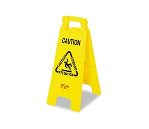 """RUBBERMAID COMMERCIAL PROD. 611200 Multilingual """"Caution"""" Floor Sign, Plastic, 11 x 1 1/2 x 26, Bright Yellow by RUBBERMAID COMMERCIAL PROD."""