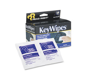 READ/RIGHT RR1233 KeyWipes Keyboard & Hand Cleaner Wet Wipes, 5 x 6 7/8, 18/Box by READ/RIGHT