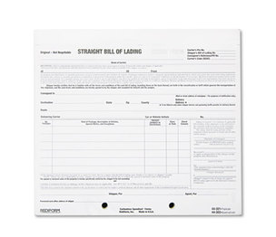 REDIFORM OFFICE PRODUCTS 44-302 Bill of Lading Short Form, 8 1/2 x 7, Four-Part Carbonless, 250 Forms by REDIFORM OFFICE PRODUCTS
