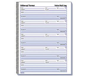 REDIFORM OFFICE PRODUCTS 51114 Voice Mail Wirebound Log Books, 8 x 10 5/8, 500 Sets/Book by REDIFORM OFFICE PRODUCTS
