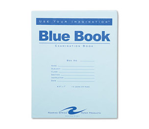 Roaring Spring Paper Products 77513 Exam Blue Book, Legal Rule, 8-1/2 x 7, White, 12 Sheets/24 Pages by ROARING SPRING PAPER PRODUCTS