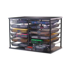 "RUBBERMAID COMMERCIAL PROD. 1735746 12-Compartment Organizer with Mesh Drawers, 23 4/5"" x 15 9/10"" x 15 2/5"", Black by RUBBERMAID"