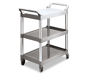 RUBBERMAID COMMERCIAL PROD. FG342488PLAT Economy Plastic Cart, Three-Shelf, 18-5/8w x 33-5/8d x 37-3/4h, Platinum by RUBBERMAID COMMERCIAL PROD.