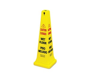 RUBBERMAID COMMERCIAL PROD. 627677 Four-Sided Caution, Wet Floor Yellow Safety Cone, 12 1/4 x 12 1/4 x 36h by RUBBERMAID COMMERCIAL PROD.