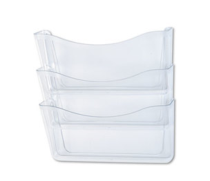 RUBBERMAID COMMERCIAL PROD. 65976ROS Unbreakable Three Pocket Wall File Set, Letter, Clear by RUBBERMAID