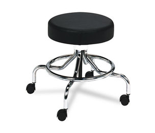 "Safco Products 3432BL Screw Lift Stool w/Low Base, 17-25"" Height-Adjustable, Chrome/Black by SAFCO PRODUCTS"