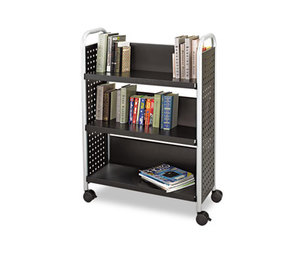 Safco Products 5336BL Scoot Book Cart, Three-Shelf, 33w x 14-1/4d x 44-1/4h, Black by SAFCO PRODUCTS