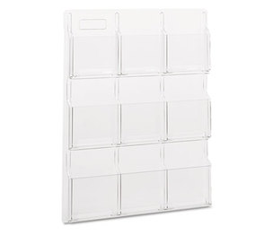 Safco Products 5603CL Reveal Clear Literature Displays, Nine Compartments, 30w x 2d x 36-3/4h, Clear by SAFCO PRODUCTS