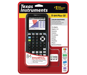 TEXAS INSTRUMENTS INC. 84PLCE/TBL/1L1 TI-84 Plus CE Color Graphing Calculator W/Wall Charger