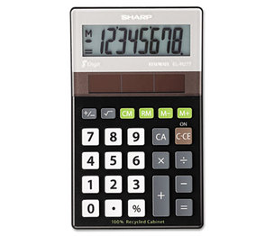 Sharp Electronics ELR277BBK EL-R277BBK Recycled Series Handheld Calculator, 8-Digit LCD by SHARP ELECTRONICS