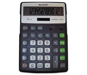 Sharp Electronics ELR297BBK EL-R297BBK Recycled Series Calculator w/Kickstand, 12-Digit LCD by SHARP ELECTRONICS