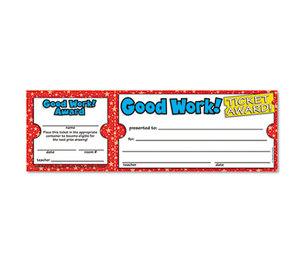 Scholastic 00078073652075 Good Work Ticket Awards, 8 1/2w x 2 3/4h, 100 2-Part Tickets/Pack by SCHOLASTIC INC.