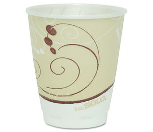 SOLO X8-J8002 Symphony Design Trophy Foam Hot/Cold Drink Cups, 8oz, Beige, 100/Pack by SOLO CUPS
