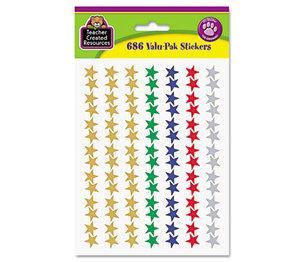 TEACHER CREATED RESOURCES 6644 Sticker Valu-Pak, Foil Stars, 686/Pack by TEACHER CREATED RESOURCES