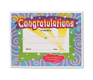 TREND ENTERPRISES, INC. T2954 Congratulations Certificates, 8-1/2 x 11, White Border, 30/Pack by TREND ENTERPRISES, INC.