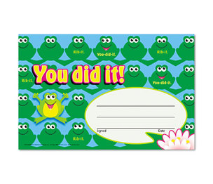 TREND ENTERPRISES, INC. T80134 Recognition Awards, You Did It--Frogs, 8 1/2w by 5 1/2h, 30/Pack by TREND ENTERPRISES, INC.