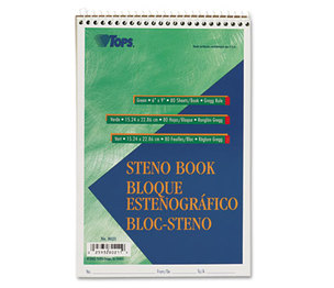 Tops Products 8021 Gregg Steno Books, 6 x 9, Green Tint, 80-Sheet Pad by TOPS BUSINESS FORMS