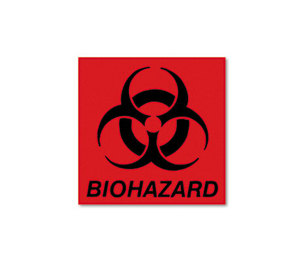 RUBBERMAID COMMERCIAL PROD. FGBP1 Biohazard Decal, 5-3/4 x 6, Fluorescent Red by RUBBERMAID COMMERCIAL PROD.