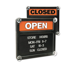 U.S. Stamp & Sign 3727 Double-Sided Open/Closed Sign w/Plastic Push Characters, 14 3/8 x 12 3/8 by U. S. STAMP & SIGN