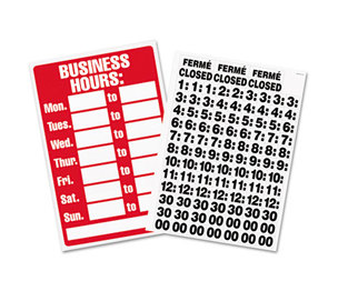 U.S. Stamp & Sign 9394 Business Hours Sign w/Vinyl Characters, Poly Resin, 8 x 12, Red/White by U. S. STAMP & SIGN