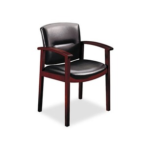 HON COMPANY 5003NEE11 5000 Series Park Avenue Collection Guest Chair, Black Vinyl/Mahogany Finish by HON COMPANY