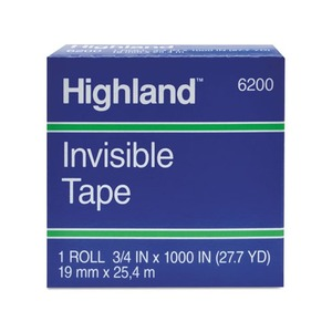 """3M 620025921 Invisible Tape, 1"""" x 2592"""", 3"""" Core by 3M/COMMERCIAL TAPE DIV."""