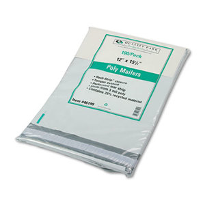 QUALITY PARK PRODUCTS 46199 Redi-Strip Poly Mailer, Side Seam, 12 x 15 1/2, White, 100/Box by QUALITY PARK PRODUCTS